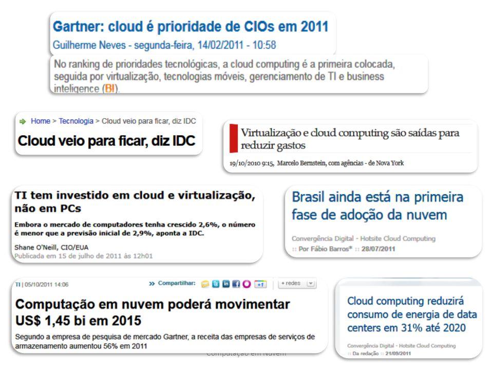 4 Clouds  De maneira geral, Computação em Nuvem ( Cloud Computing) é a virtualização de produtos e serviços computacionais  Referência à figura que representa a Internet