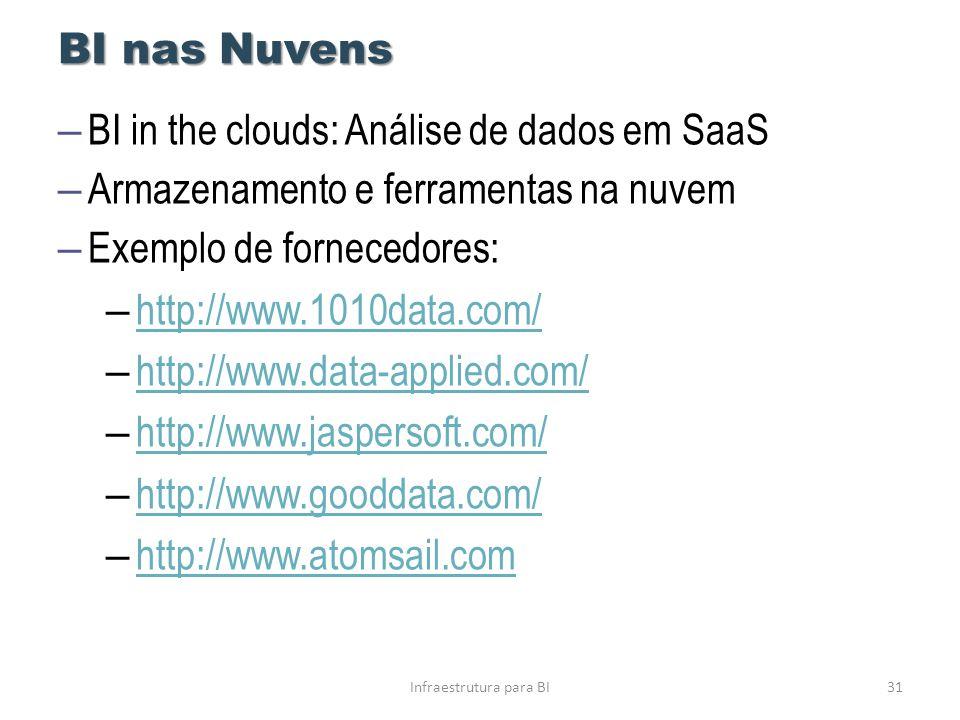 BI nas Nuvens Infraestrutura para BI31 – BI in the clouds: Análise de dados em SaaS – Armazenamento e ferramentas na nuvem – Exemplo de fornecedores:
