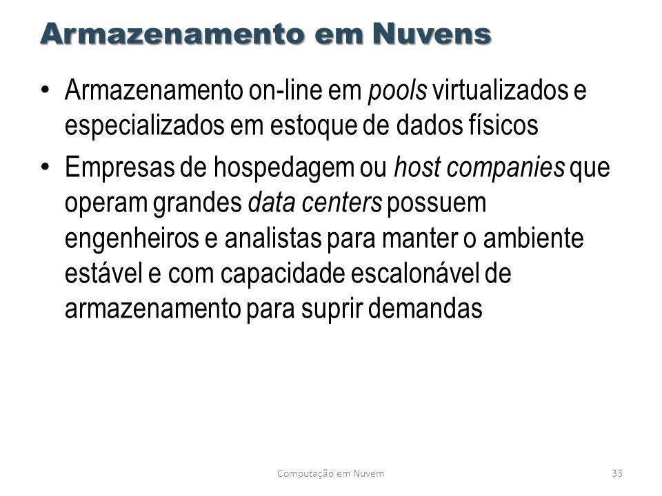 Armazenamento em Nuvens • Armazenamento on-line em pools virtualizados e especializados em estoque de dados físicos • Empresas de hospedagem ou host c