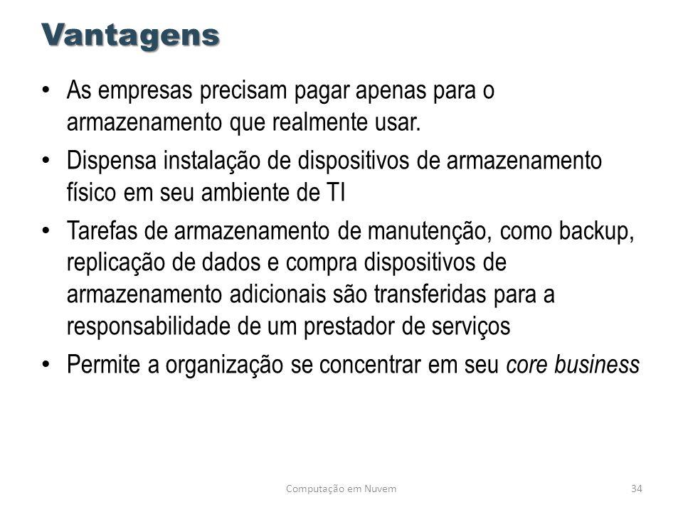 Vantagens • As empresas precisam pagar apenas para o armazenamento que realmente usar. • Dispensa instalação de dispositivos de armazenamento físico e