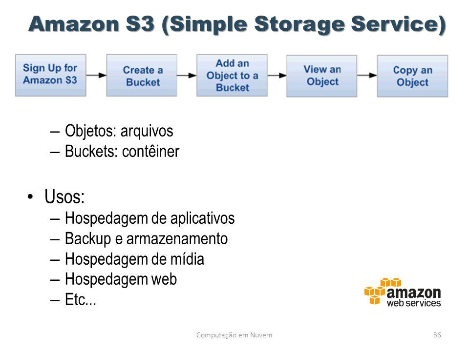 Amazon S3 (Simple Storage Service) – Objetos: arquivos – Buckets: contêiner • Usos: – Hospedagem de aplicativos – Backup e armazenamento – Hospedagem