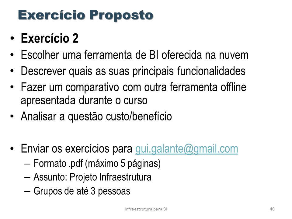 Exercício Proposto • Exercício 2 • Escolher uma ferramenta de BI oferecida na nuvem • Descrever quais as suas principais funcionalidades • Fazer um co