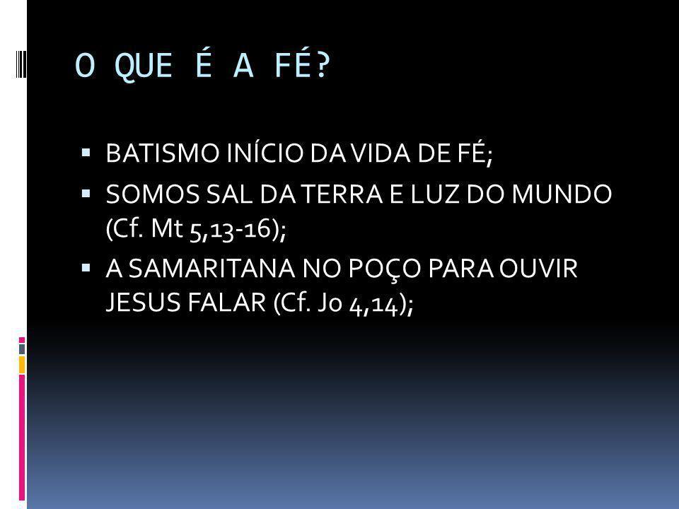 O QUE É A FÉ?  BATISMO INÍCIO DA VIDA DE FÉ;  SOMOS SAL DA TERRA E LUZ DO MUNDO (Cf. Mt 5,13-16);  A SAMARITANA NO POÇO PARA OUVIR JESUS FALAR (Cf.