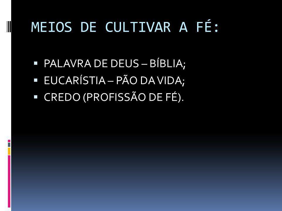 MEIOS DE CULTIVAR A FÉ:  PALAVRA DE DEUS – BÍBLIA;  EUCARÍSTIA – PÃO DA VIDA;  CREDO (PROFISSÃO DE FÉ).