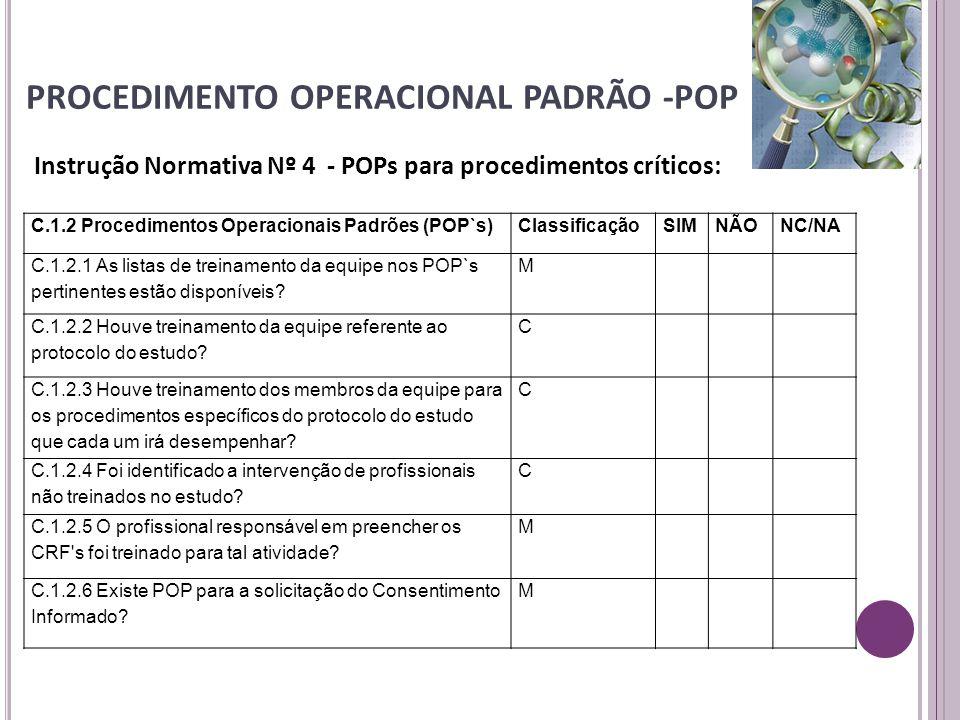 PROCEDIMENTO OPERACIONAL PADRÃO -POP Instrução Normativa Nº 4 - POPs para procedimentos críticos: C.1.2 Procedimentos Operacionais Padrões (POP`s)Clas