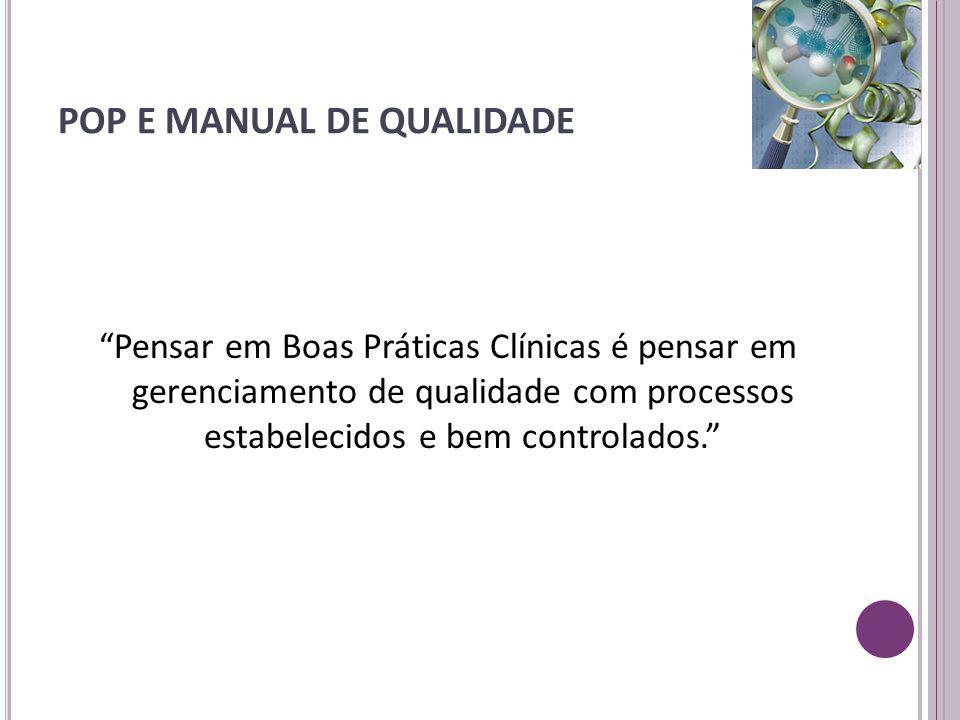 """POP E MANUAL DE QUALIDADE """"Pensar em Boas Práticas Clínicas é pensar em gerenciamento de qualidade com processos estabelecidos e bem controlados."""""""