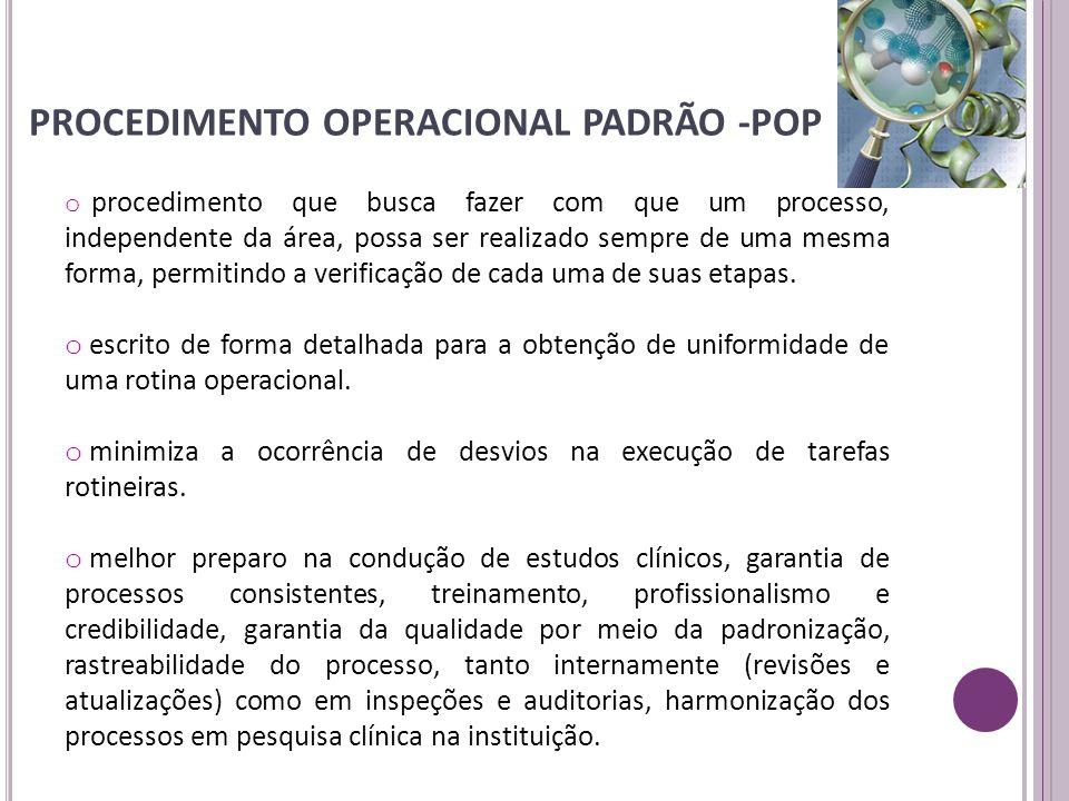 PROCEDIMENTO OPERACIONAL PADRÃO -POP o procedimento que busca fazer com que um processo, independente da área, possa ser realizado sempre de uma mesma