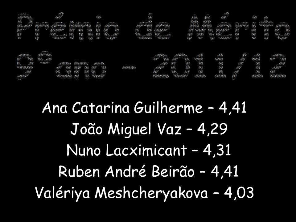 Helena Almeida Lanção – 4,19 Joana Sofia Branco – 4,07 Miguel Salvador Pedroso – 4,70