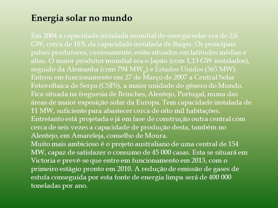 Energia solar no mundo Em 2004 a capacidade instalada mundial de energia solar era de 2,6 GW, cerca de 18% da capacidade instalada de Itaipu.