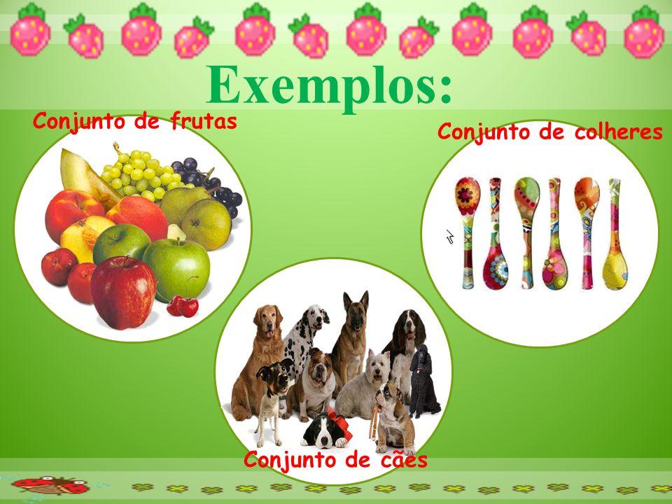Exemplos: Conjunto de frutas Conjunto de colheres Conjunto de cães