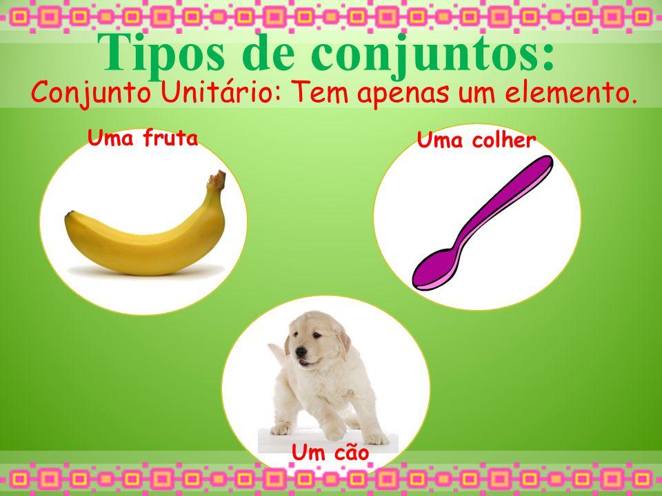 Tipos de conjuntos: Conjunto Unitário: Tem apenas um elemento. Uma fruta Uma colher Um cão