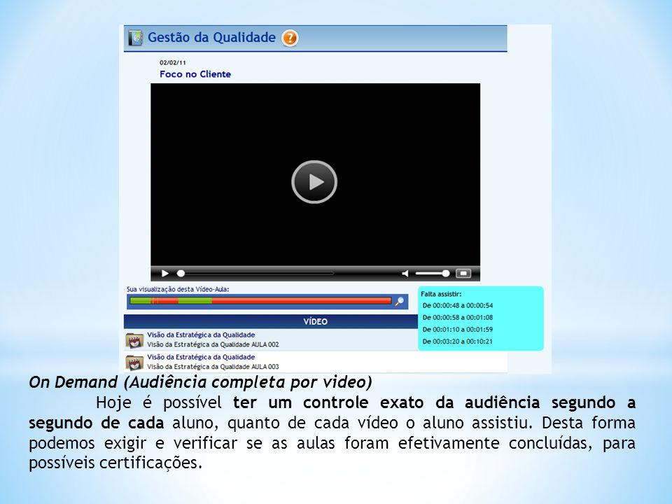 On Demand (Audiência completa por video) Hoje é possível ter um controle exato da audiência segundo a segundo de cada aluno, quanto de cada vídeo o aluno assistiu.