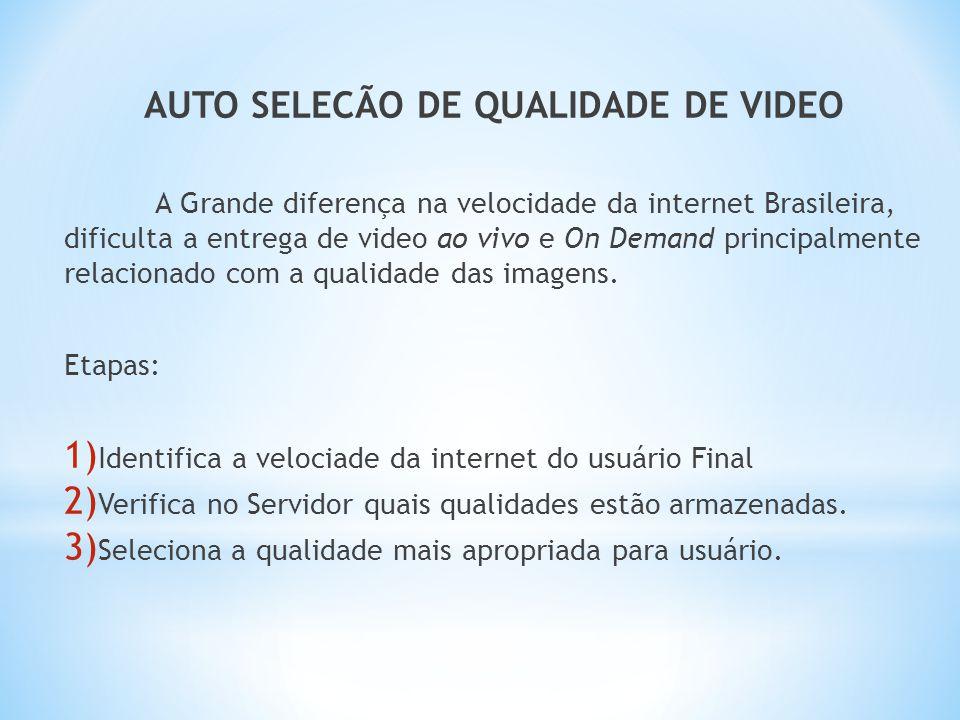 AUTO SELECÃO DE QUALIDADE DE VIDEO A Grande diferença na velocidade da internet Brasileira, dificulta a entrega de video ao vivo e On Demand principal