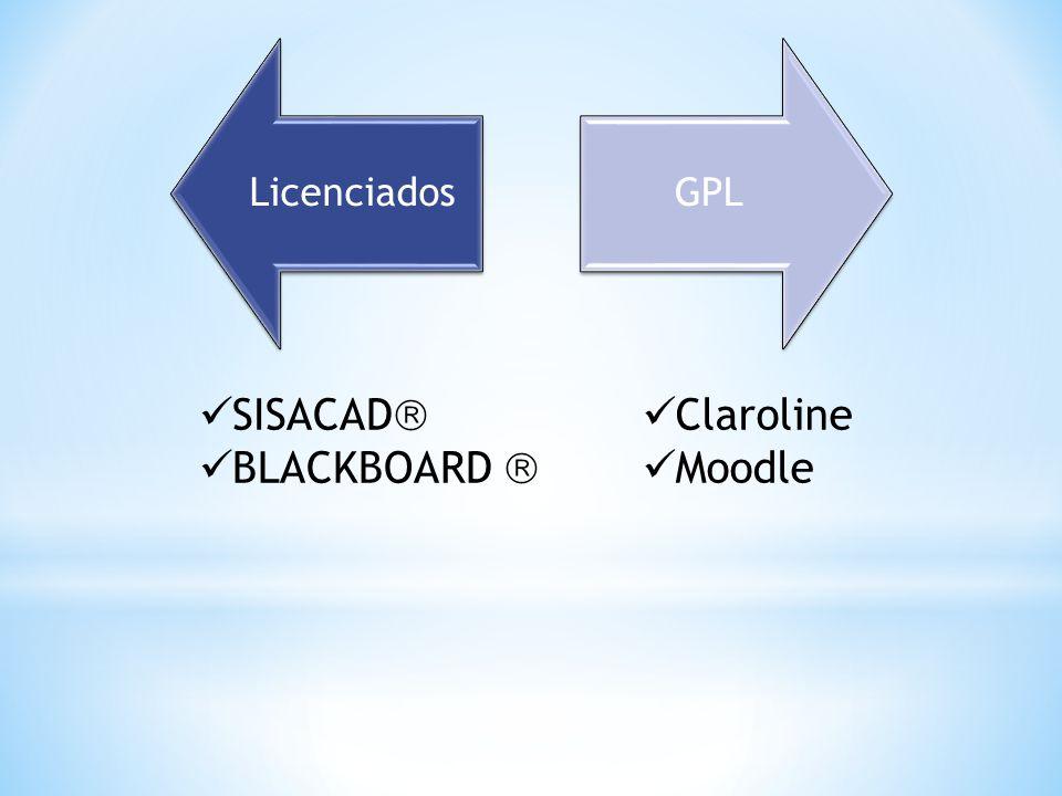 LicenciadosGPL  Claroline  Moodle  SISACAD   BLACKBOARD 