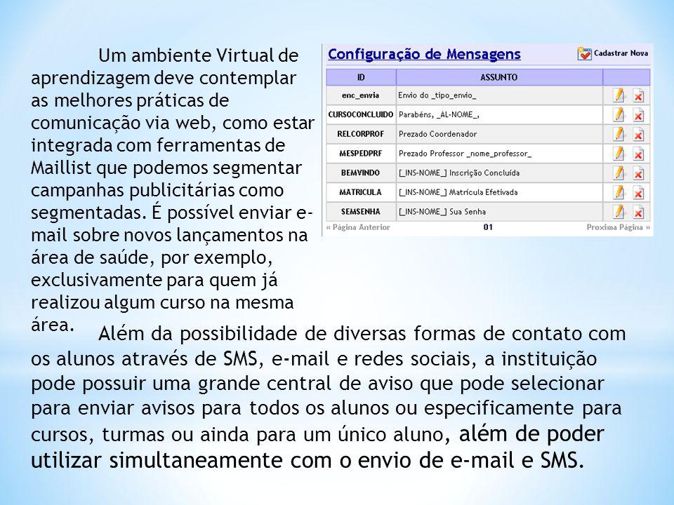 Um ambiente Virtual de aprendizagem deve contemplar as melhores práticas de comunicação via web, como estar integrada com ferramentas de Maillist que