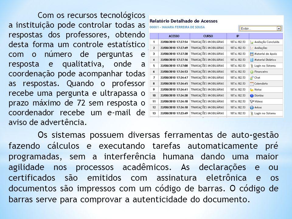 Com os recursos tecnológicos a instituição pode controlar todas as respostas dos professores, obtendo desta forma um controle estatístico com o número