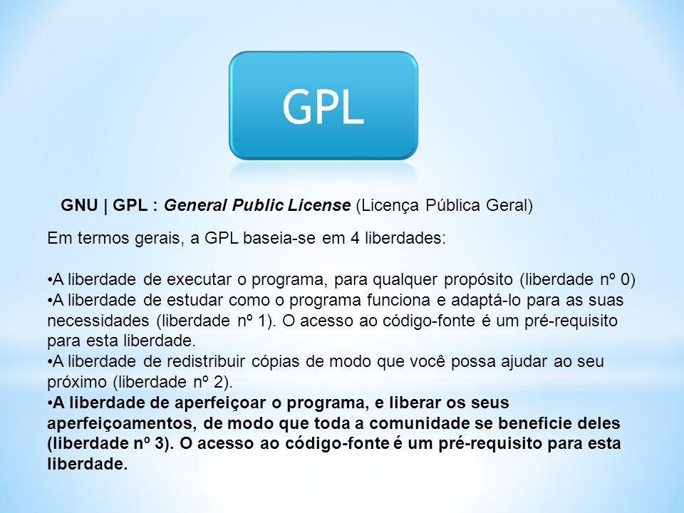 GNU | GPL : General Public License (Licença Pública Geral) Em termos gerais, a GPL baseia-se em 4 liberdades: •A liberdade de executar o programa, par