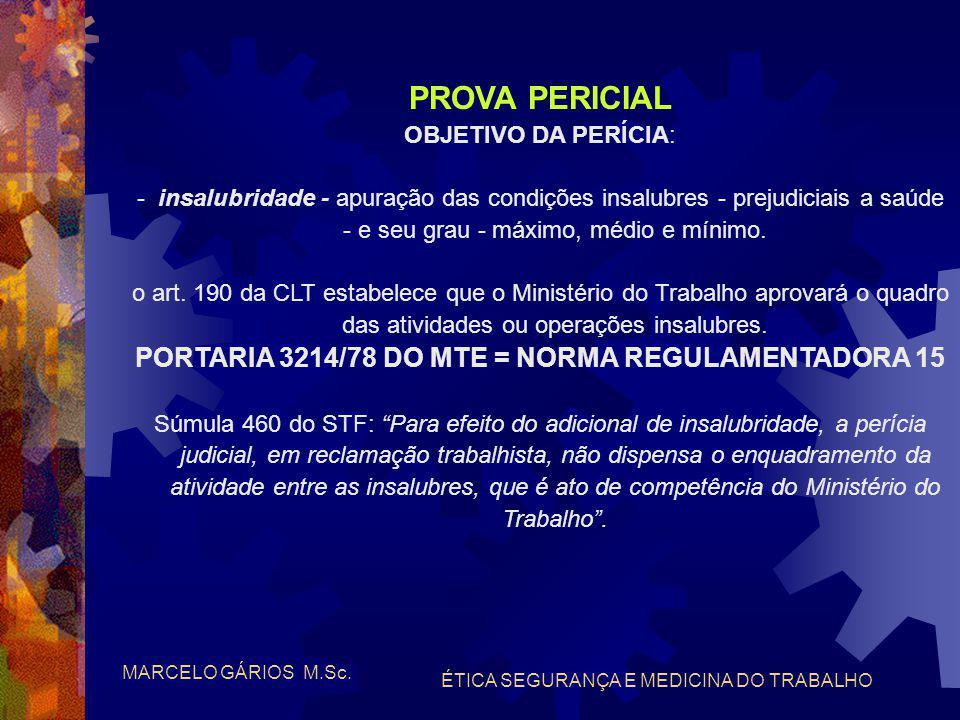 """MARCELO GÁRIOS M.Sc. ÉTICA SEGURANÇA E MEDICINA DO TRABALHO PROVA PERICIAL CLASSIFICAÇÃO """"obrigatória"""" ou """"facultativa"""": - insalubridade e/ou periculo"""