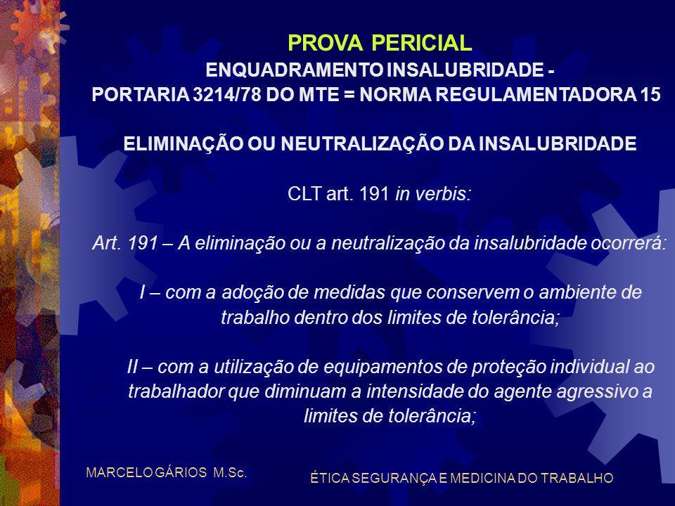 MARCELO GÁRIOS M.Sc. ÉTICA SEGURANÇA E MEDICINA DO TRABALHO PROVA PERICIAL OBJETIVO DA PERÍCIA: - insalubridade - apuração das condições insalubres -