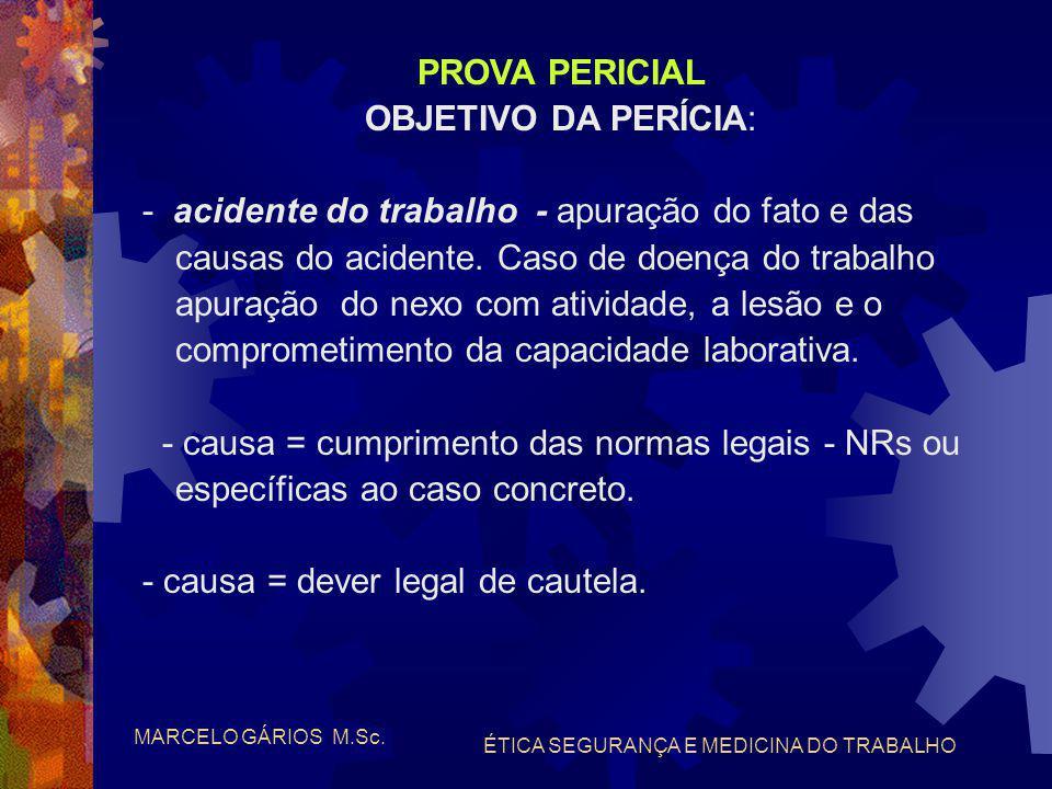 MARCELO GÁRIOS M.Sc. ÉTICA SEGURANÇA E MEDICINA DO TRABALHO PROVA PERICIAL ENQUADRAMENTO PERICULOSIDADE - CESSAÇÃO DA PERICULOSIDADE CLT art. 194 in v