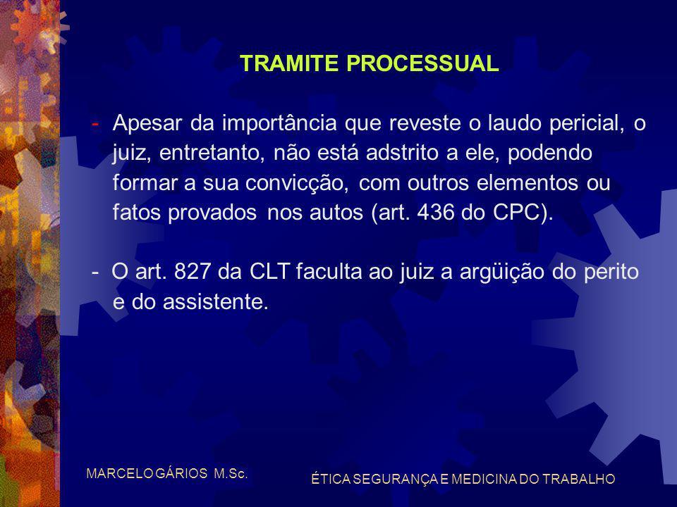 MARCELO GÁRIOS M.Sc. ÉTICA SEGURANÇA E MEDICINA DO TRABALHO TRAMITE PROCESSUAL -Do momento em que o perito presta o compromisso legal do art. 422 do C