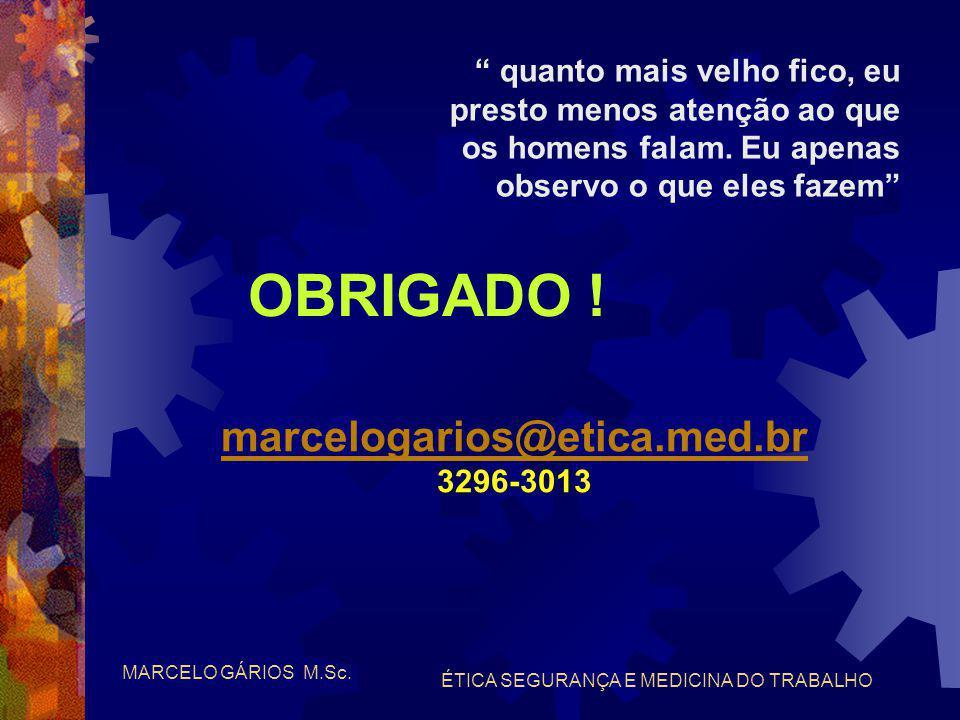 MARCELO GÁRIOS M.Sc. ÉTICA SEGURANÇA E MEDICINA DO TRABALHO