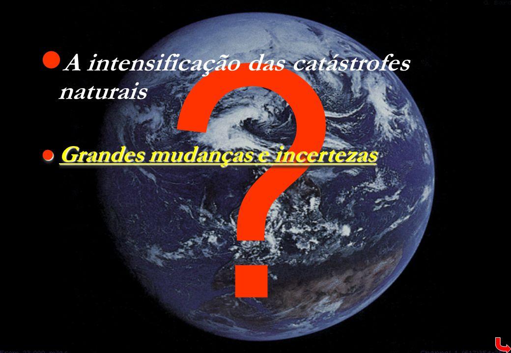 ?  A intensificação das catástrofes naturais  Grandes mudanças e incertezas