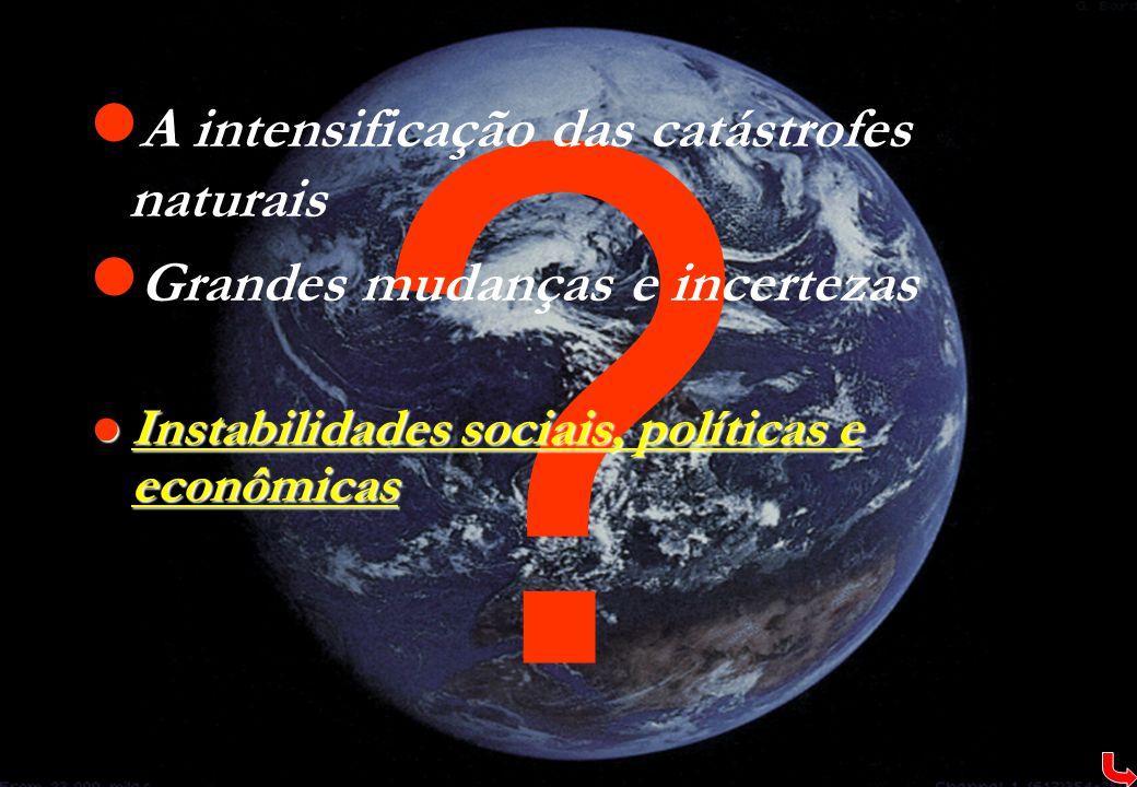 ?  A intensificação das catástrofes naturais  Grandes mudanças e incertezas  Instabilidades sociais, políticas e econômicas