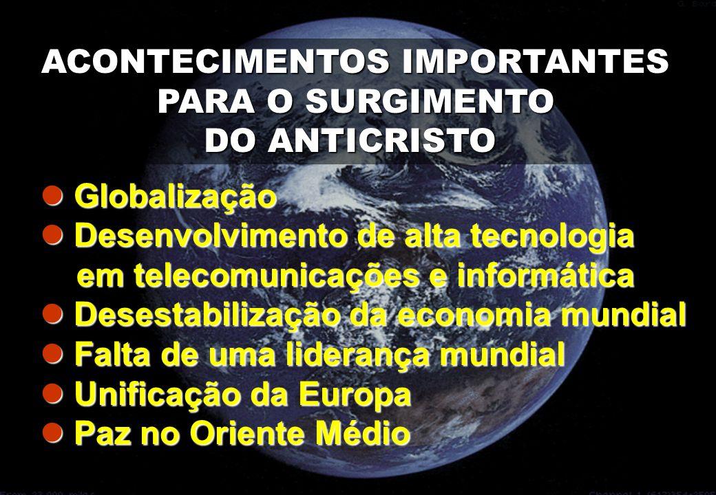 ACONTECIMENTOS IMPORTANTES PARA O SURGIMENTO PARA O SURGIMENTO DO ANTICRISTO  Globalização  Desenvolvimento de alta tecnologia em telecomunicações e