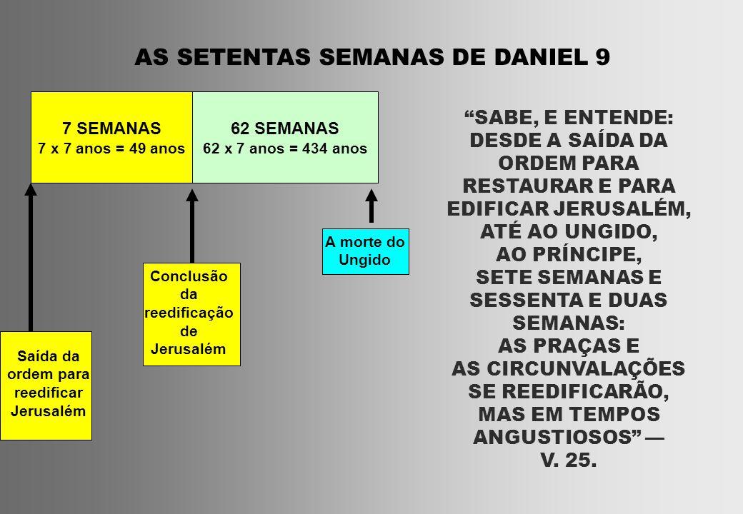 AS SETENTAS SEMANAS DE DANIEL 9 7 SEMANAS 7 x 7 anos = 49 anos 62 SEMANAS 62 x 7 anos = 434 anos Saída da ordem para reedificar Jerusalém Conclusão da