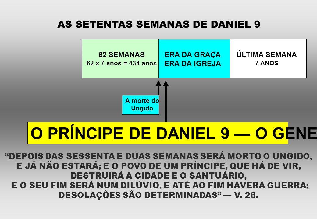 """AS SETENTAS SEMANAS DE DANIEL 9 62 SEMANAS 62 x 7 anos = 434 anos ERA DA GRAÇA ERA DA IGREJA ÚLTIMA SEMANA 7 ANOS A morte do Ungido """"DEPOIS DAS SESSEN"""