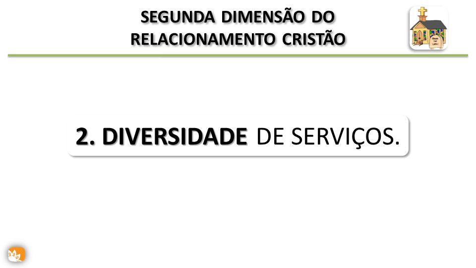 SEGUNDA DIMENSÃO DO RELACIONAMENTO CRISTÃO 2. DIVERSIDADE 2. DIVERSIDADE DE SERVIÇOS.