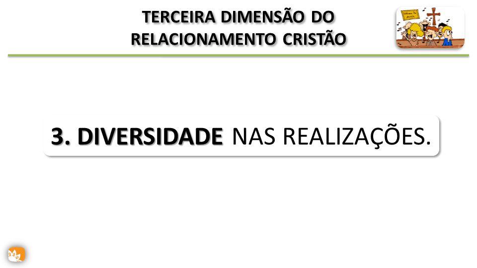TERCEIRA DIMENSÃO DO RELACIONAMENTO CRISTÃO 3. DIVERSIDADE 3. DIVERSIDADE NAS REALIZAÇÕES.