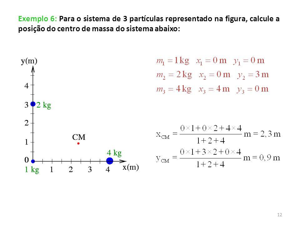 Exemplo 6: Para o sistema de 3 partículas representado na figura, calcule a posição do centro de massa do sistema abaixo: 12
