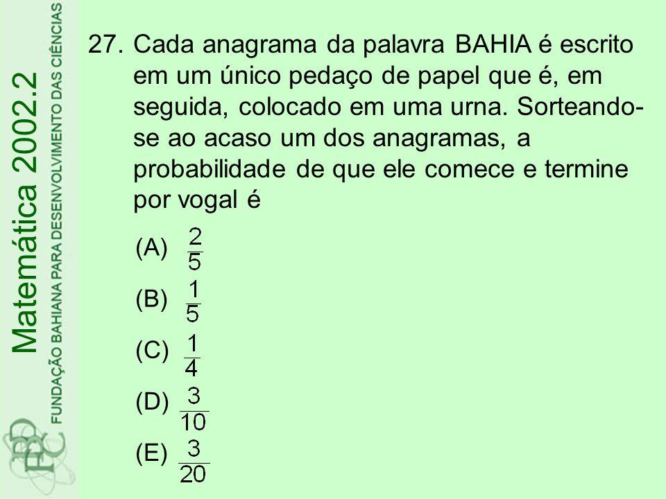27.Cada anagrama da palavra BAHIA é escrito em um único pedaço de papel que é, em seguida, colocado em uma urna. Sorteando- se ao acaso um dos anagram