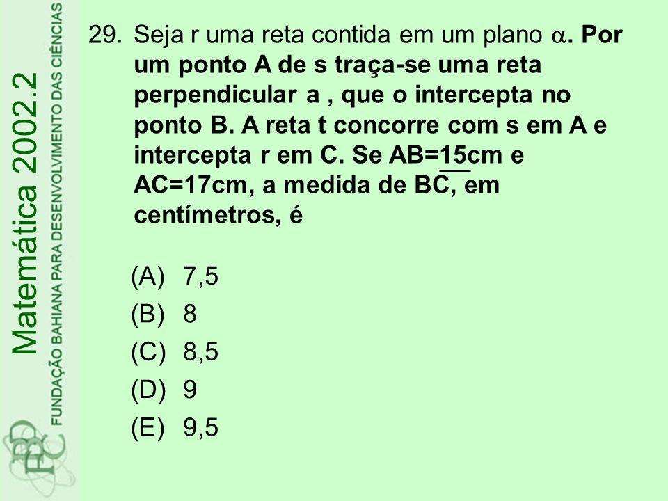 29.Seja r uma reta contida em um plano . Por um ponto A de s traça-se uma reta perpendicular a, que o intercepta no ponto B. A reta t concorre com s
