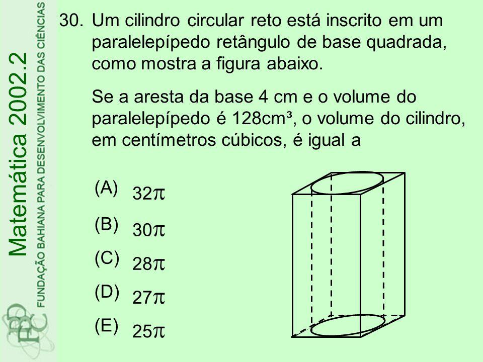 30.Um cilindro circular reto está inscrito em um paralelepípedo retângulo de base quadrada, como mostra a figura abaixo. Se a aresta da base 4 cm e o