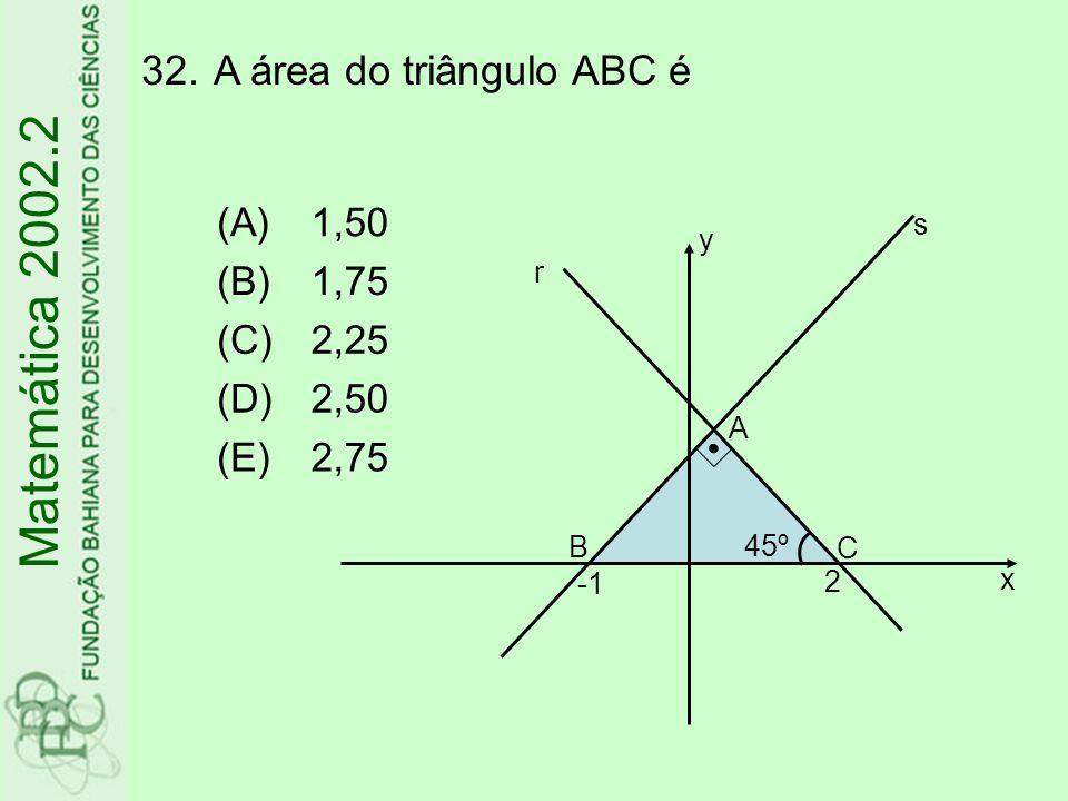 32.A área do triângulo ABC é Matemática 2002.2 (A)1,50 (B)1,75 (C)2,25 (D)2,50 (E)2,75 x A B C 45º s r y 2