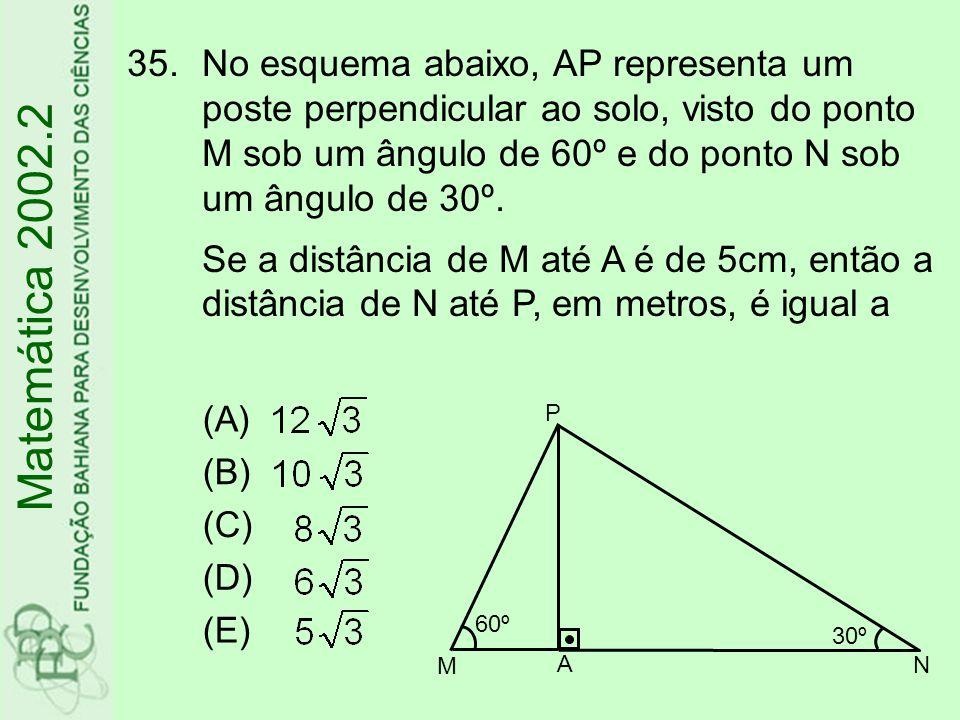 35.No esquema abaixo, AP representa um poste perpendicular ao solo, visto do ponto M sob um ângulo de 60º e do ponto N sob um ângulo de 30º. Se a dist