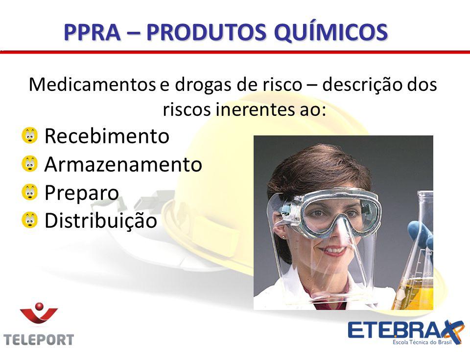 Medicamentos e drogas de risco – descrição dos riscos inerentes ao: Recebimento Armazenamento Preparo Distribuição PPRA – PRODUTOS QUÍMICOS