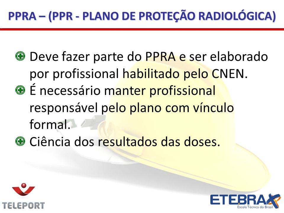 PPRA – (PPR - PLANO DE PROTEÇÃO RADIOLÓGICA) Deve fazer parte do PPRA e ser elaborado por profissional habilitado pelo CNEN.