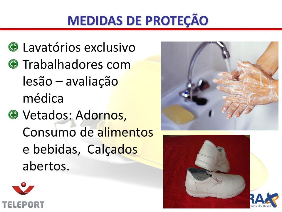 MEDIDAS DE PROTEÇÃO Lavatórios exclusivo Trabalhadores com lesão – avaliação médica Vetados: Adornos, Consumo de alimentos e bebidas, Calçados abertos.
