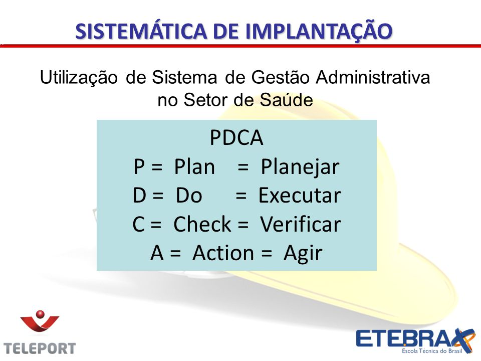 PDCA P = Plan = Planejar D = Do = Executar C = Check = Verificar A = Action = Agir Utilização de Sistema de Gestão Administrativa no Setor de Saúde SISTEMÁTICA DE IMPLANTAÇÃO