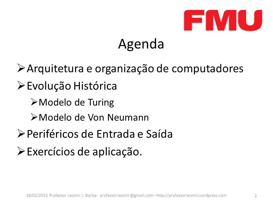 Agenda  Arquitetura e organização de computadores  Evolução Histórica  Modelo de Turing  Modelo de Von Neumann  Periféricos de Entrada e Saída  Exercícios de aplicação.