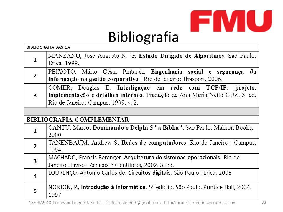 Bibliografia 15/08/2013 Professor Leomir J.