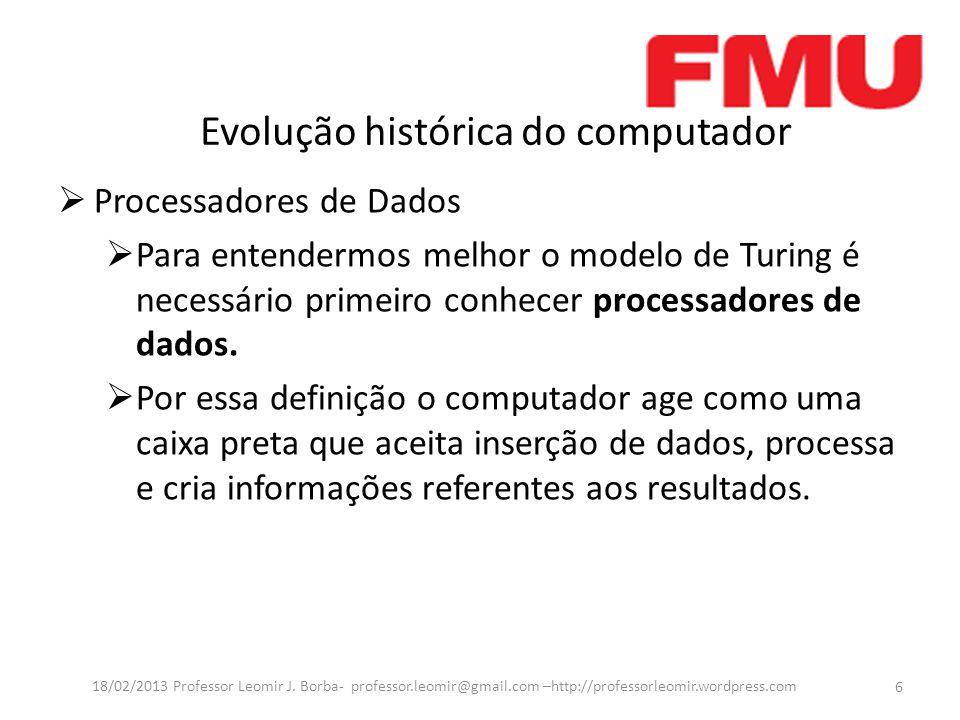 Evolução histórica do computador  Continuação  Embora esse modelo possa definir um computador, na atualidade tornou-se muito genérico por que serve ate mesmo para uma calculadora.
