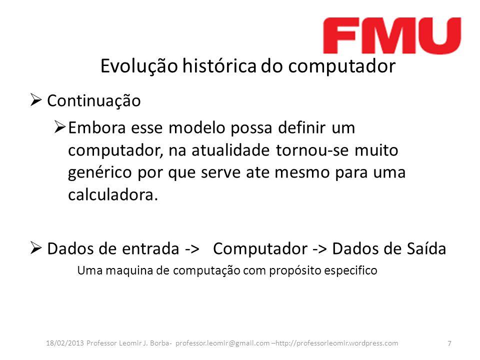 Periféricos de Entrada e Saída  Exemplos : Continuação  Sistema de Vídeo 28 18/02/2013 Professor Leomir J.