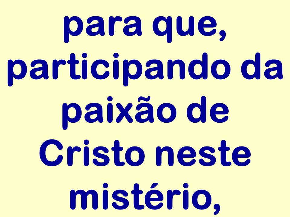 para que, participando da paixão de Cristo neste mistério,