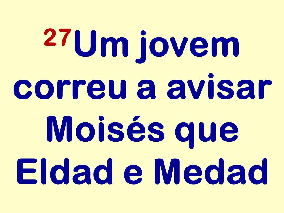 27 Um jovem correu a avisar Moisés que Eldad e Medad