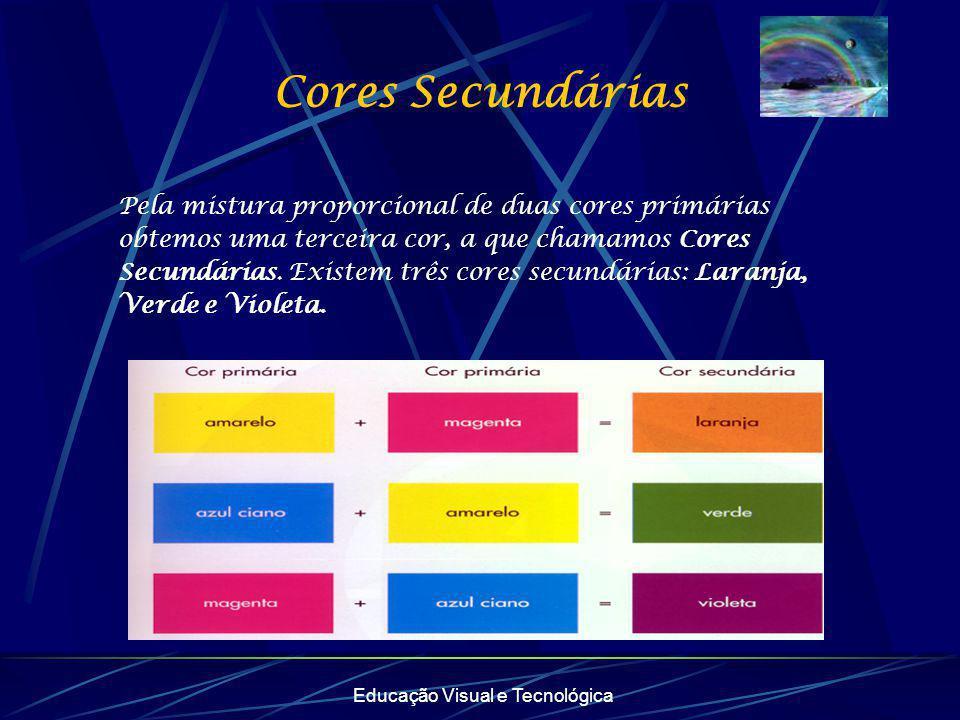 Educação Visual e Tecnológica Cores Secundárias Pela mistura proporcional de duas cores primárias obtemos uma terceira cor, a que chamamos Cores Secun